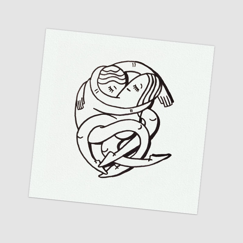 love - hand drawing postcard