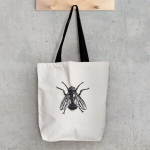 canvas bag with fly illustration