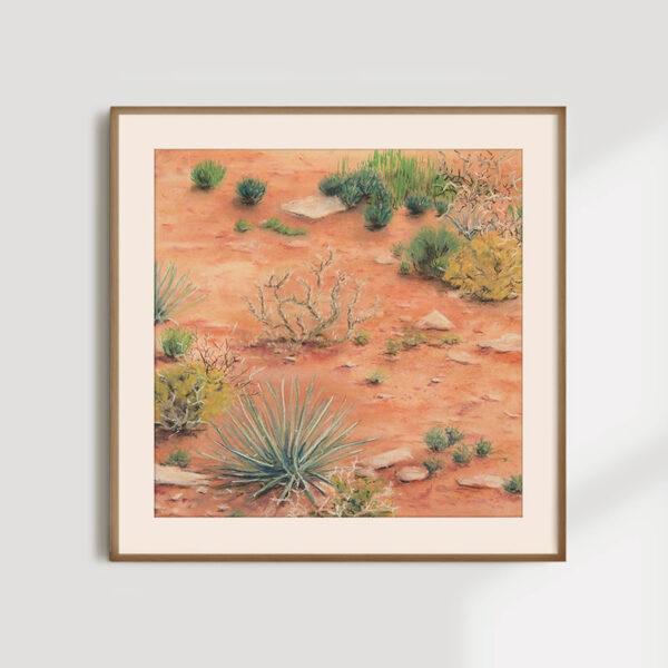 spring - desert pastel drawing